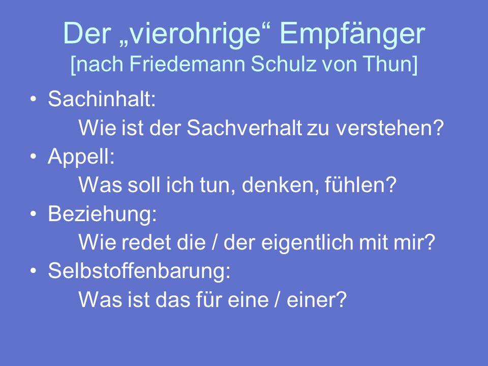 """Der """"vierohrige Empfänger [nach Friedemann Schulz von Thun]"""